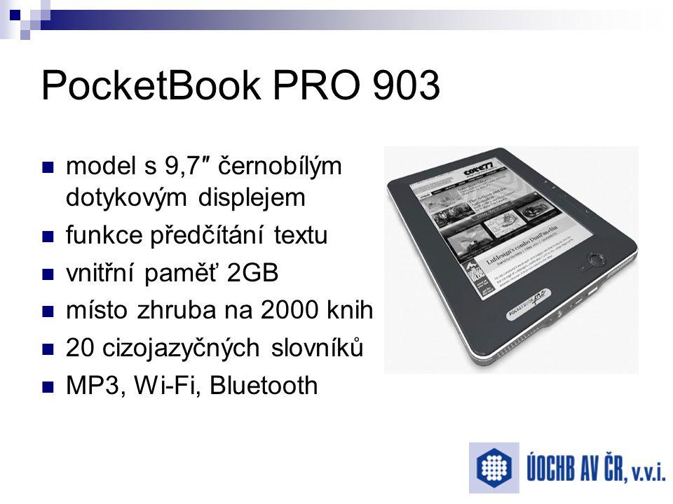 PocketBook PRO 903 model s 9,7″ černobílým dotykovým displejem funkce předčítání textu vnitřní paměť 2GB místo zhruba na 2000 knih 20 cizojazyčných slovníků MP3, Wi-Fi, Bluetooth