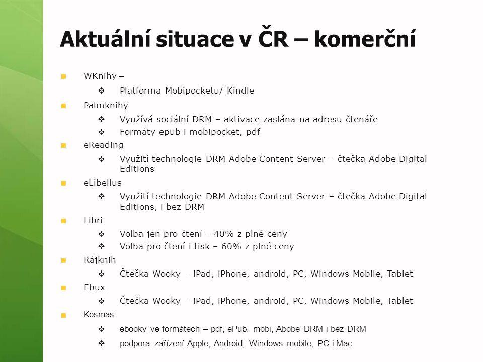 Aktuální situace v ČR – komerční WKnihy –  Platforma Mobipocketu/ Kindle Palmknihy  Využívá sociální DRM – aktivace zaslána na adresu čtenáře  Form