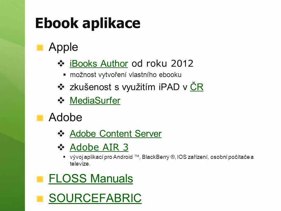 Ebook aplikace Apple  iBooks Author od roku 20 1 2 iBooks Author  možnost vytvoření vlastního ebooku  zkušenost s využitím iPAD v ČRČR  MediaSurfe