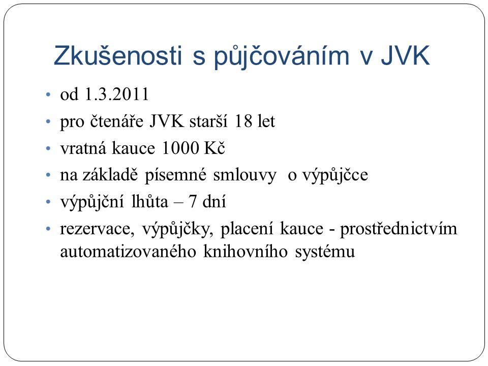 Zkušenosti s půjčováním v JVK od 1.3.2011 pro čtenáře JVK starší 18 let vratná kauce 1000 Kč na základě písemné smlouvy o výpůjčce výpůjční lhůta – 7