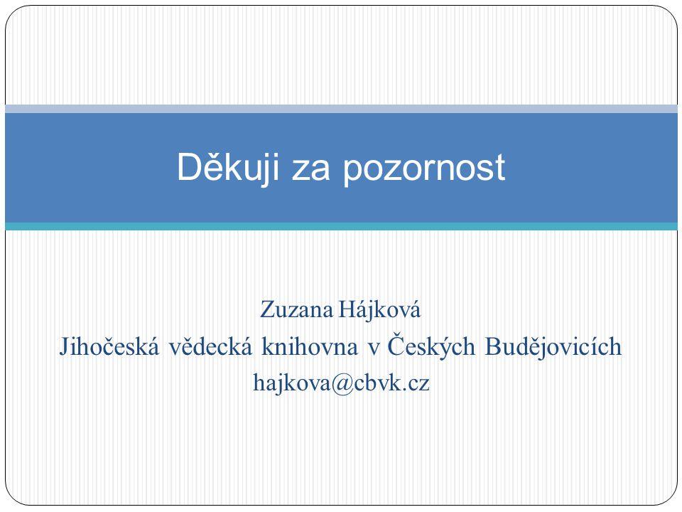 Zuzana Hájková Jihočeská vědecká knihovna v Českých Budějovicích hajkova@cbvk.cz Děkuji za pozornost