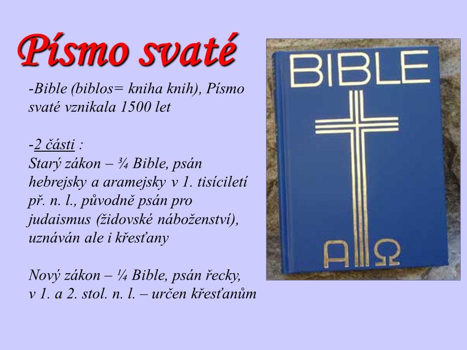 Písmo svaté -Bible (biblos= kniha knih), Písmo svaté vznikala 1500 let -2 části : Starý zákon – ¾ Bible, psán hebrejsky a aramejsky v 1. tisíciletí př