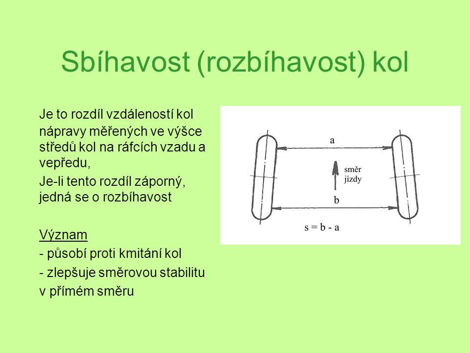 Sbíhavost (rozbíhavost) kol Je to rozdíl vzdáleností kol nápravy měřených ve výšce středů kol na ráfcích vzadu a vepředu, Je-li tento rozdíl záporný,