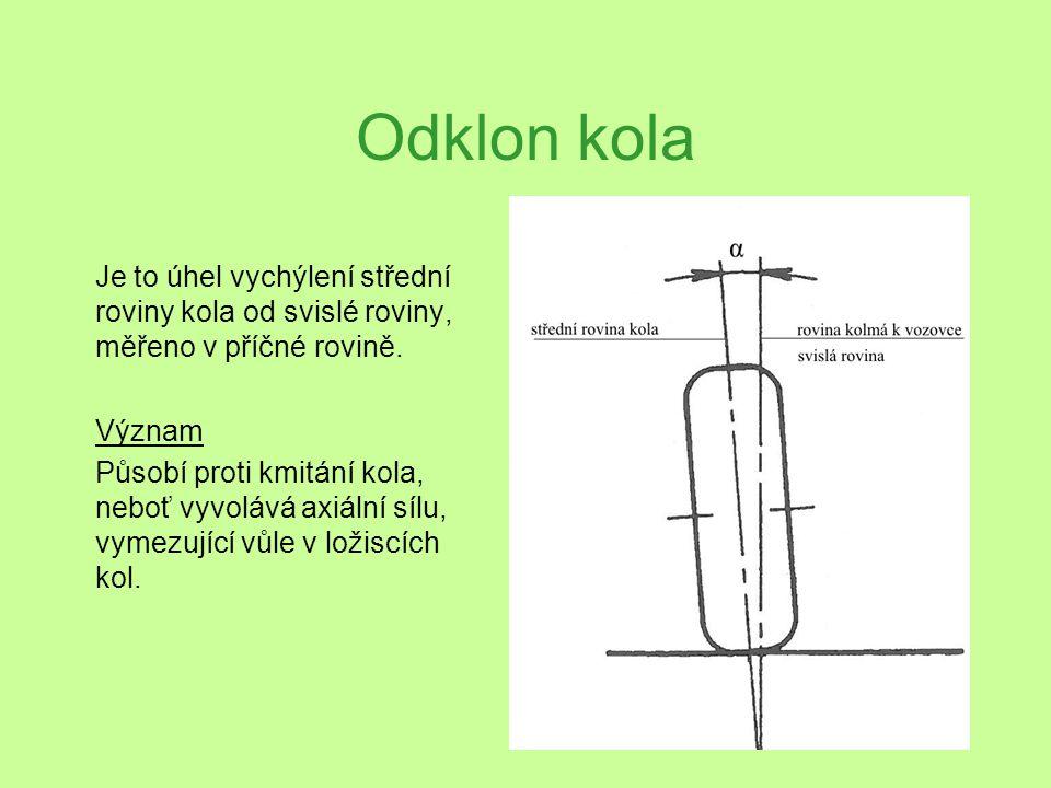 Odklon kola Je to úhel vychýlení střední roviny kola od svislé roviny, měřeno v příčné rovině. Význam Působí proti kmitání kola, neboť vyvolává axiáln