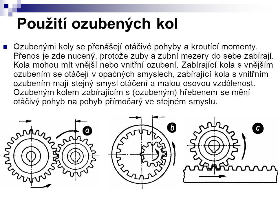 Použití ozubených kol Ozubenými koly se přenášejí otáčivé pohyby a kroutící momenty.