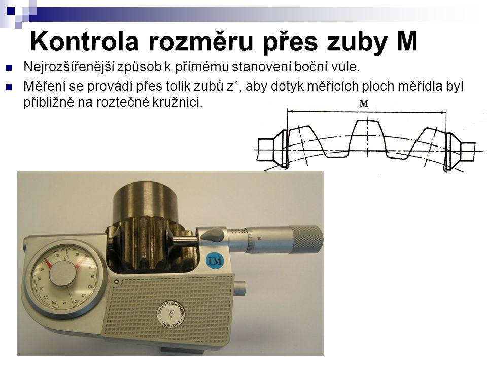 Kontrola rozměru přes zuby M Nejrozšířenější způsob k přímému stanovení boční vůle.