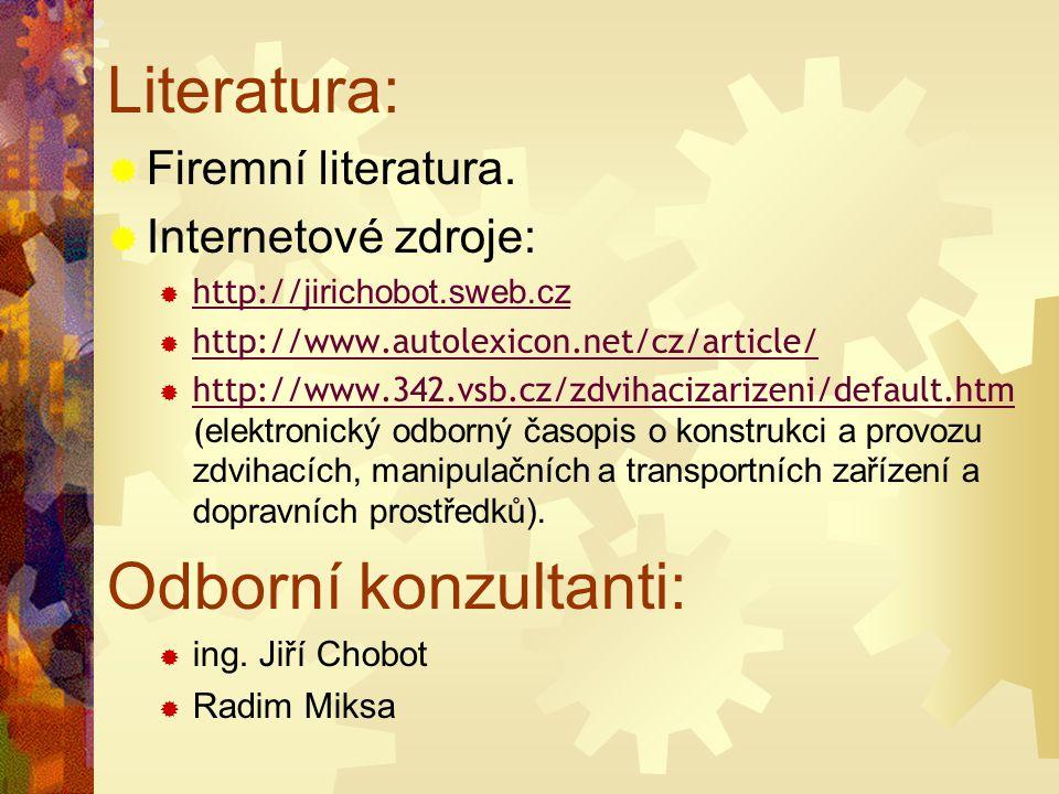Literatura:  Firemní literatura.  Internetové zdroje:  http:// jirichobot.sweb.cz http:// jirichobot.sweb.cz  http://www.autolexicon.net/cz/articl