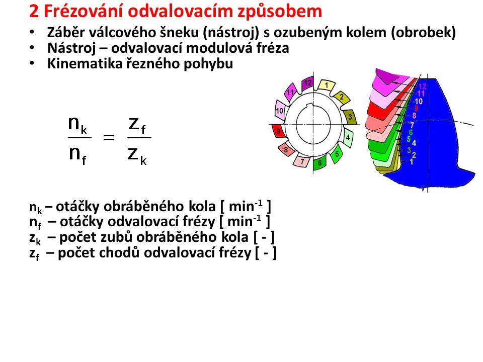 2 Frézování odvalovacím způsobem Záběr válcového šneku (nástroj) s ozubeným kolem (obrobek) Nástroj – odvalovací modulová fréza Kinematika řezného pohybu n k – otáčky obráběného kola [ min -1 ] n f – otáčky odvalovací frézy [ min -1 ] z k – počet zubů obráběného kola [ - ] z f – počet chodů odvalovací frézy [ - ]