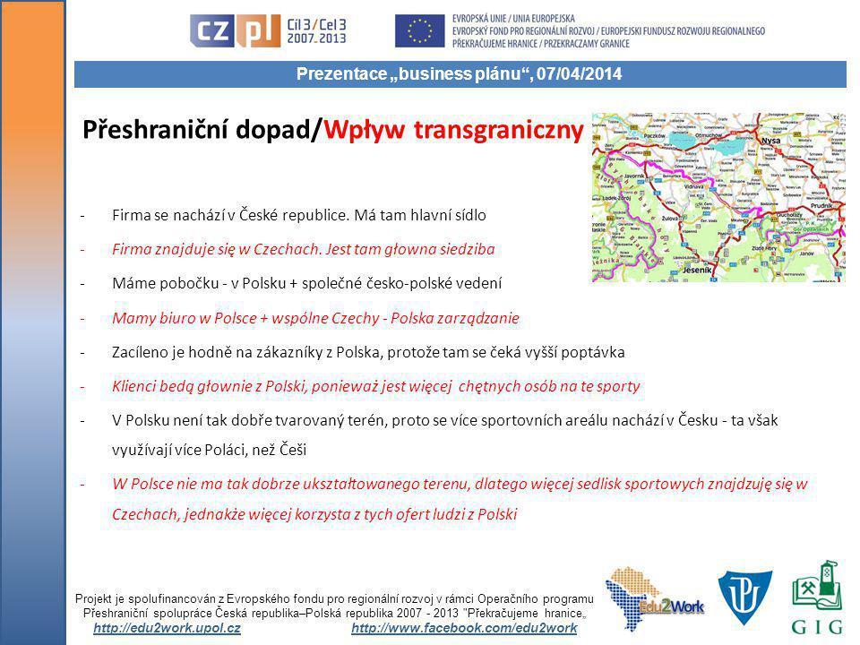 Přeshraniční dopad/Wpływ transgraniczny -Firma se nachází v České republice.