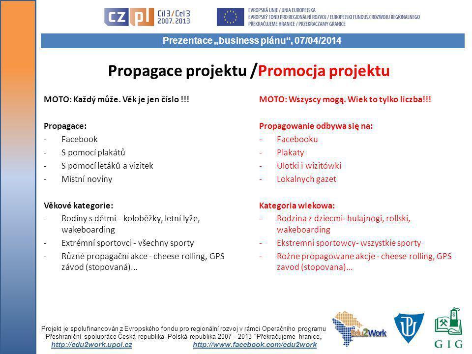Propagace projektu / Promocja projektu MOTO: Každý může.