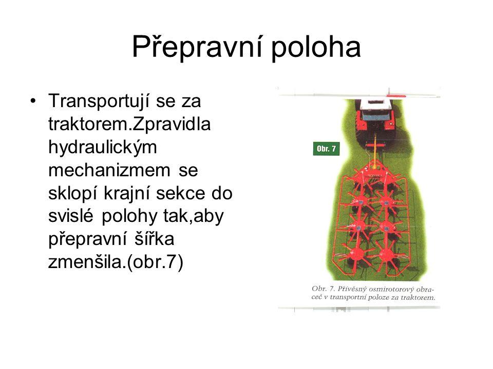Přepravní poloha Transportují se za traktorem.Zpravidla hydraulickým mechanizmem se sklopí krajní sekce do svislé polohy tak,aby přepravní šířka zmenšila.(obr.7)