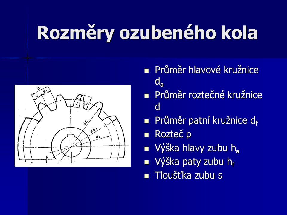 Rozměry ozubeného kola Průměr hlavové kružnice d a Průměr hlavové kružnice d a Průměr roztečné kružnice d Průměr roztečné kružnice d Průměr patní kruž
