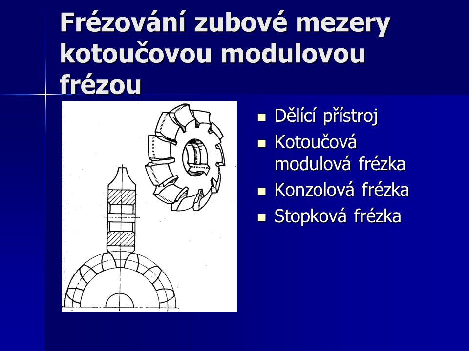 Frézování zubové mezery kotoučovou modulovou frézou Dělící přístroj Dělící přístroj Kotoučová modulová frézka Kotoučová modulová frézka Konzolová fréz