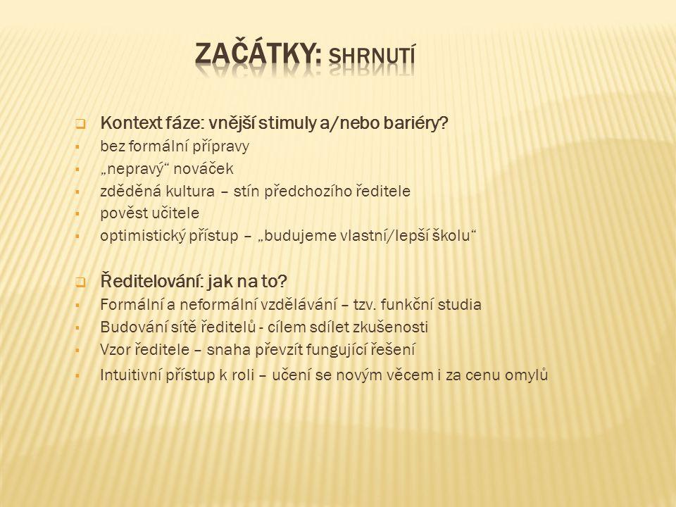  Kontext fáze: vnější stimuly a/nebo bariéry.