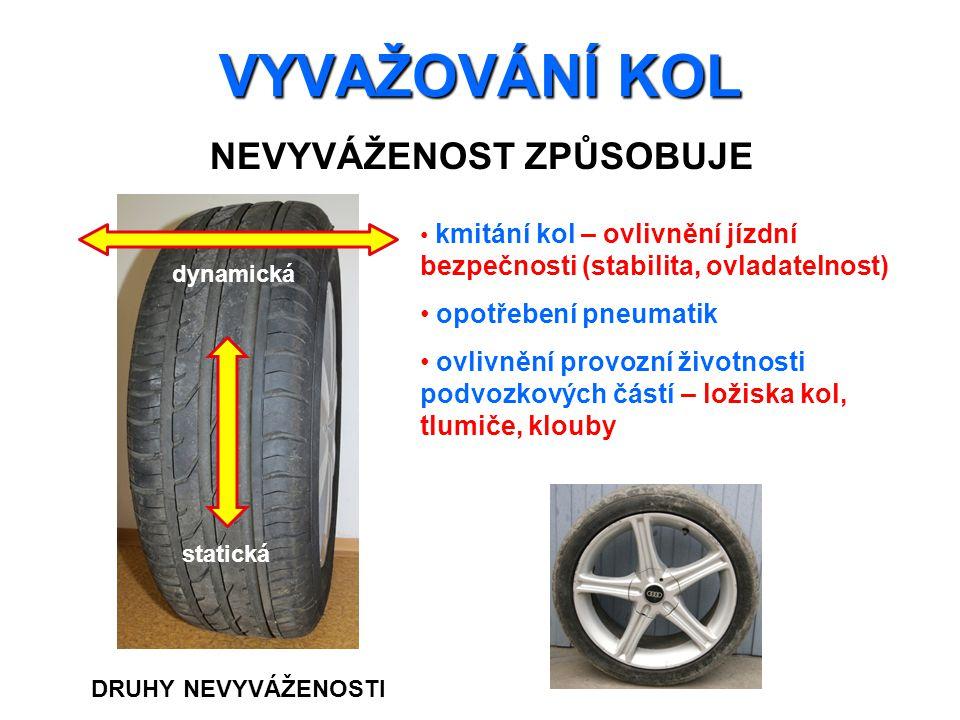 VYVAŽOVÁNÍ KOL NEVYVÁŽENOST ZPŮSOBUJE kmitání kol – ovlivnění jízdní bezpečnosti (stabilita, ovladatelnost) opotřebení pneumatik ovlivnění provozní ži