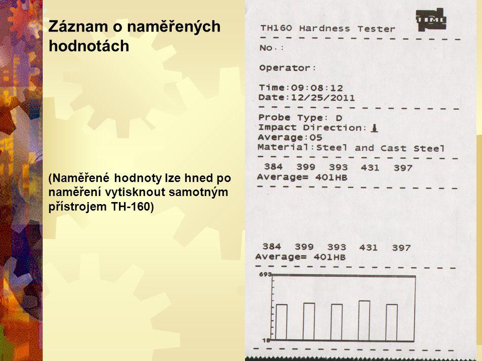 Záznam o naměřených hodnotách (Naměřené hodnoty lze hned po naměření vytisknout samotným přístrojem TH-160)