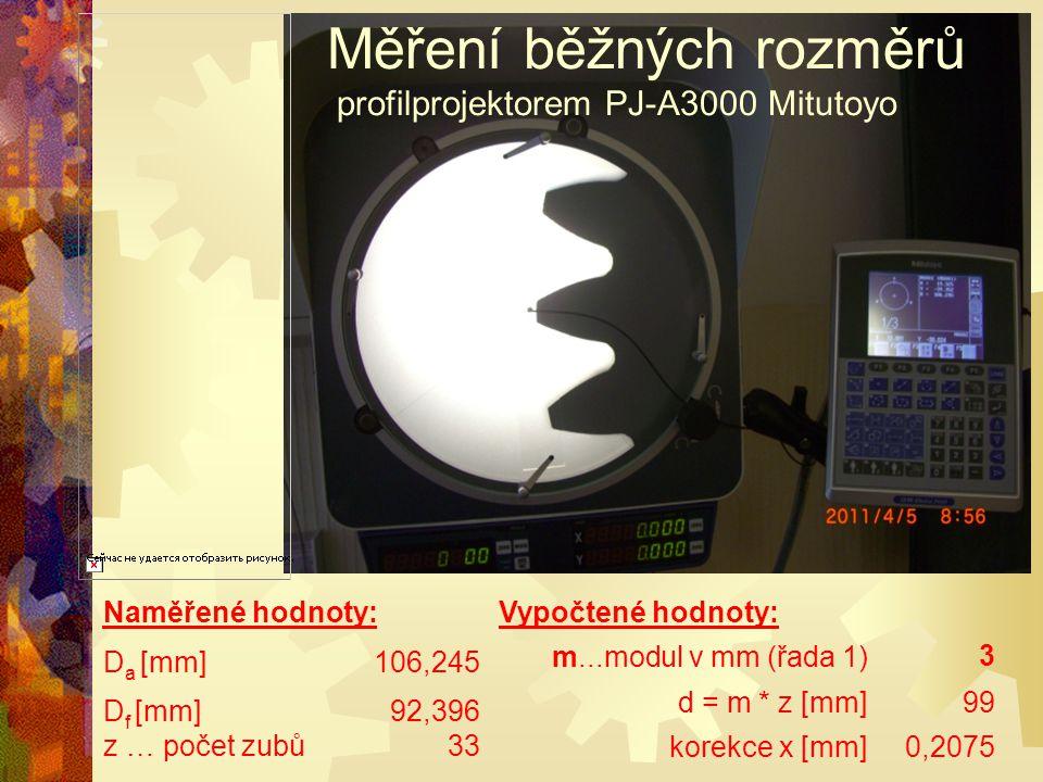 Měření běžných rozměrů profilprojektorem PJ-A3000 Mitutoyo Naměřené hodnoty: D a [mm]106,245 D f [mm]92,396 z … počet zubů33 Vypočtené hodnoty: m...mo