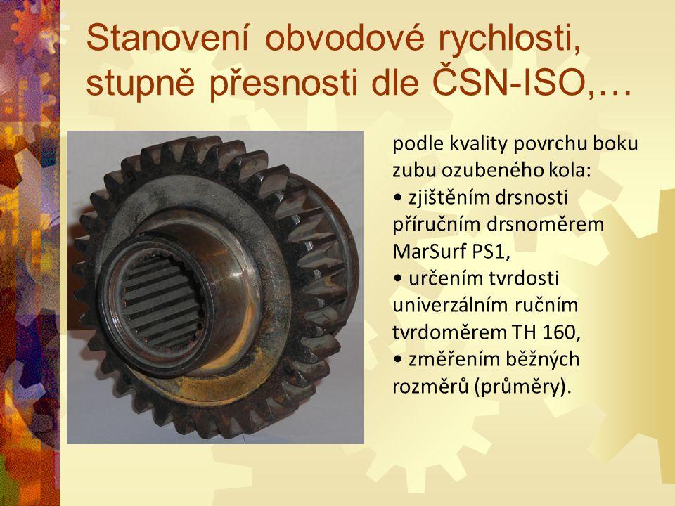 Stanovení obvodové rychlosti, stupně přesnosti dle ČSN-ISO,… podle kvality povrchu boku zubu ozubeného kola: zjištěním drsnosti příručním drsnoměrem M