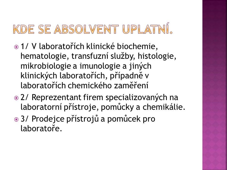  1/ V laboratořích klinické biochemie, hematologie, transfuzní služby, histologie, mikrobiologie a imunologie a jiných klinických laboratořích, případně v laboratořích chemického zaměření  2/ Reprezentant firem specializovaných na laboratorní přístroje, pomůcky a chemikálie.