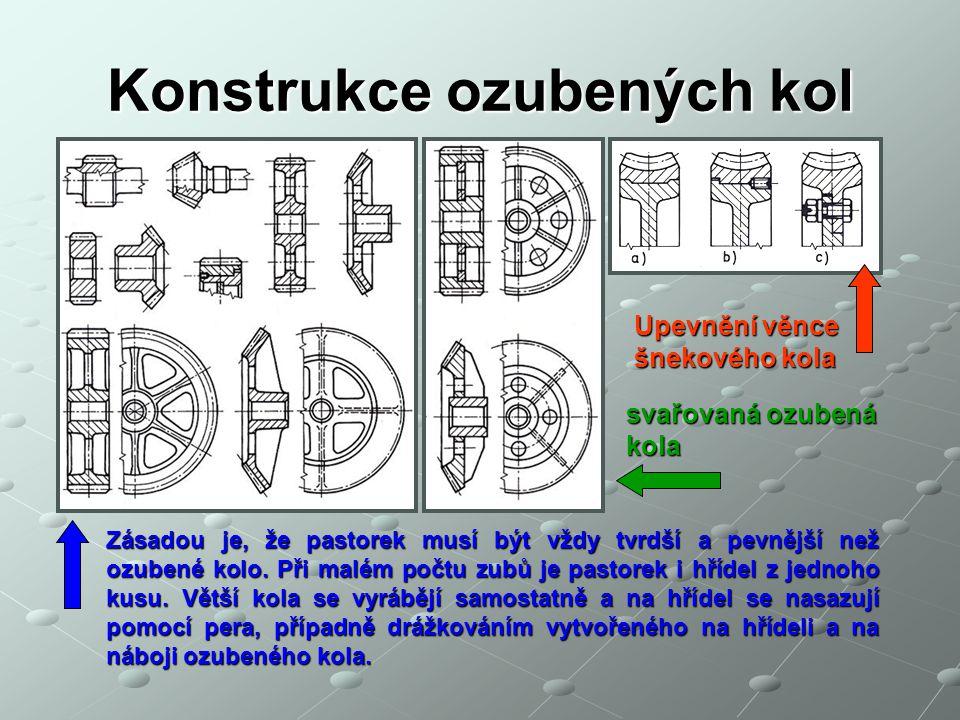 Konstrukce ozubených kol Upevnění věnce šnekového kola Zásadou je, že pastorek musí být vždy tvrdší a pevnější než ozubené kolo. Při malém počtu zubů
