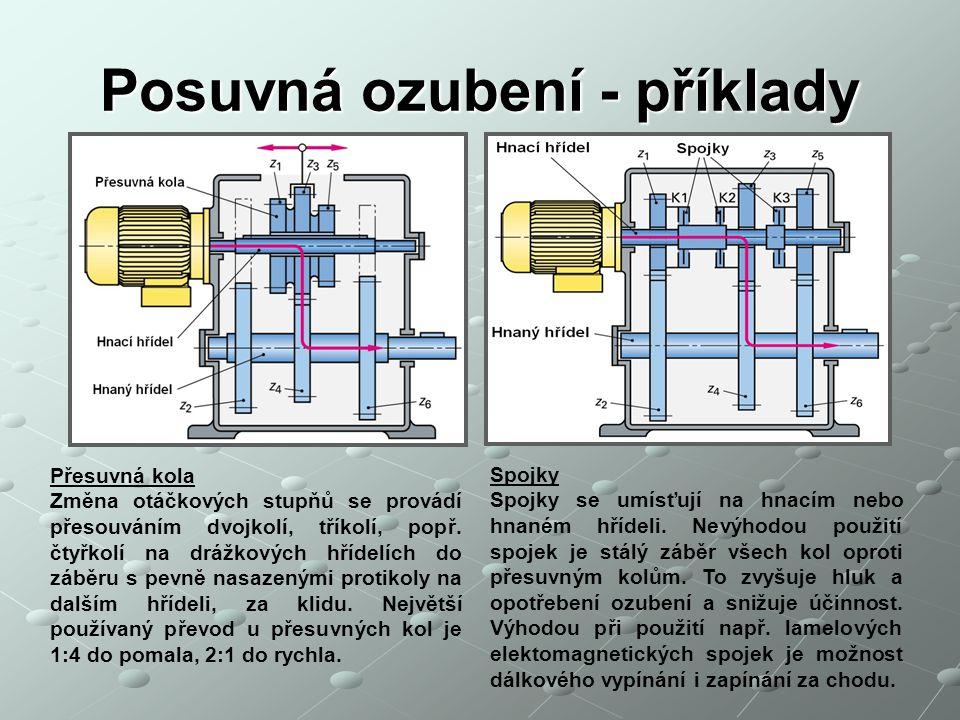 Posuvná ozubení - příklady Spojky Spojky se umísťují na hnacím nebo hnaném hřídeli. Nevýhodou použití spojek je stálý záběr všech kol oproti přesuvným