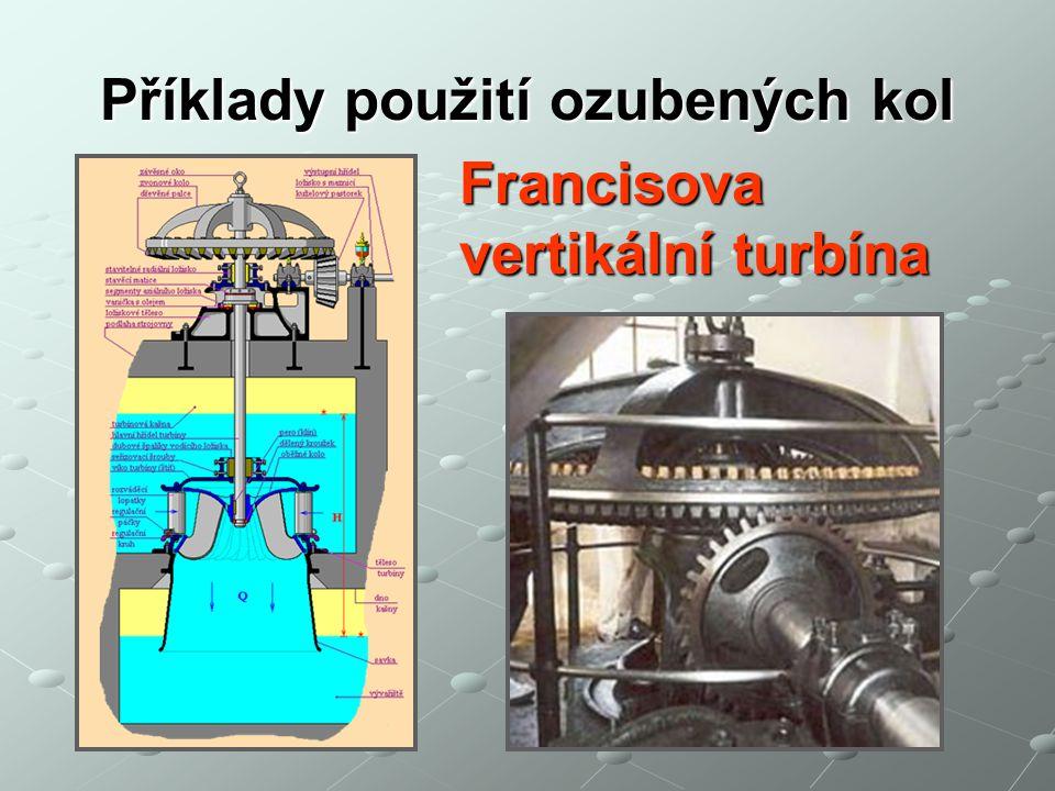 Příklady použití ozubených kol Francisova vertikální turbína