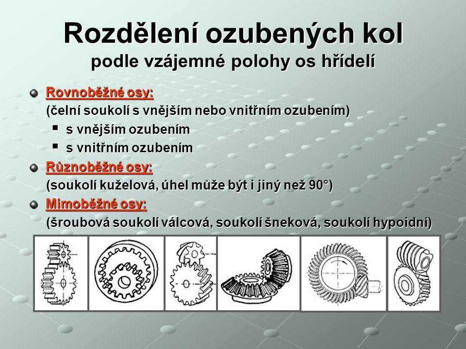 Převody ozubenými koly podle ozubení Ozubená kola - příklady: používají se pro převody se stálým poměrem a s malou osovou vzdáleností hřídelů, zabírající kola s vnějším ozubením se otáčejí v opačném smyslu, zabírající kola s vnitřním ozubením mají stejný smysl otáčení, ozubeným kolem zabírajícím s ozubeným hřebenem se mění otáčivý pohyb na pohyb přímočarý ve stejném smyslu,..