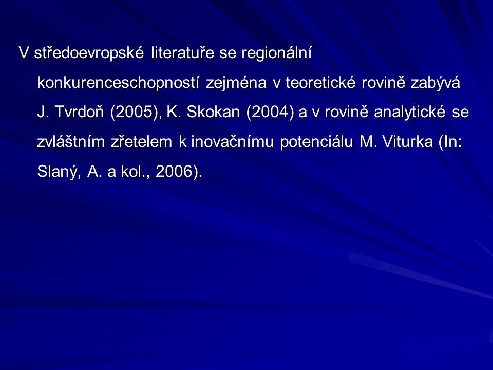 V středoevropské literatuře se regionální konkurenceschopností zejména v teoretické rovině zabývá J. Tvrdoň (2005), K. Skokan (2004) a v rovině analyt