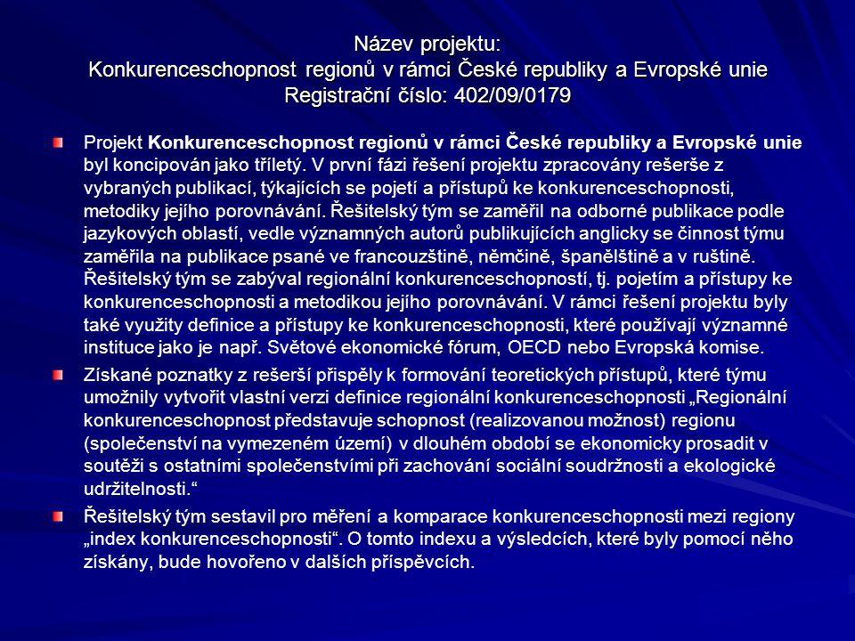 Název projektu: Konkurenceschopnost regionů v rámci České republiky a Evropské unie Registrační číslo: 402/09/0179 Projekt Konkurenceschopnost regionů