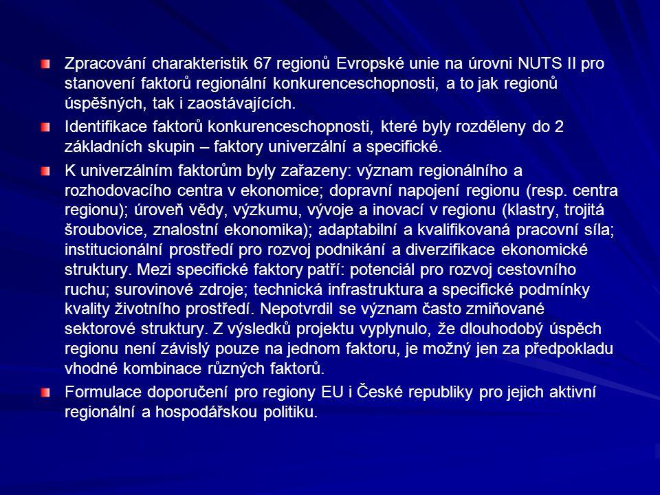 Zpracování charakteristik 67 regionů Evropské unie na úrovni NUTS II pro stanovení faktorů regionální konkurenceschopnosti, a to jak regionů úspěšných