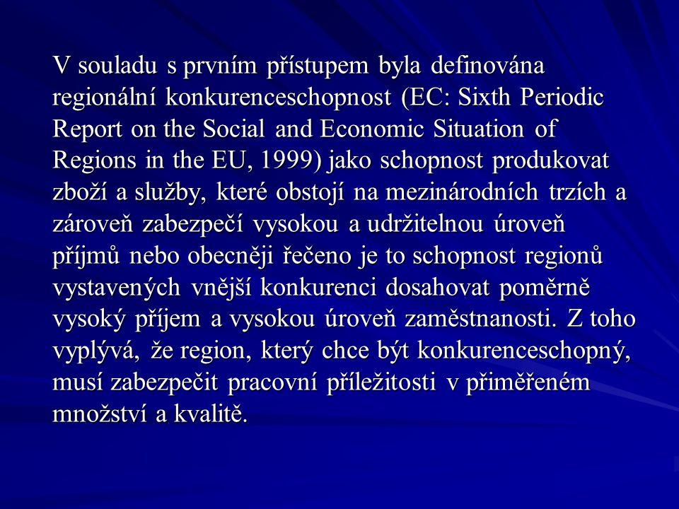 V souladu s prvním přístupem byla definována regionální konkurenceschopnost (EC: Sixth Periodic Report on the Social and Economic Situation of Regions