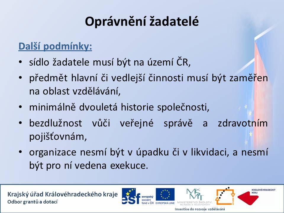Oprávnění žadatelé Další podmínky: sídlo žadatele musí být na území ČR, předmět hlavní či vedlejší činnosti musí být zaměřen na oblast vzdělávání, min