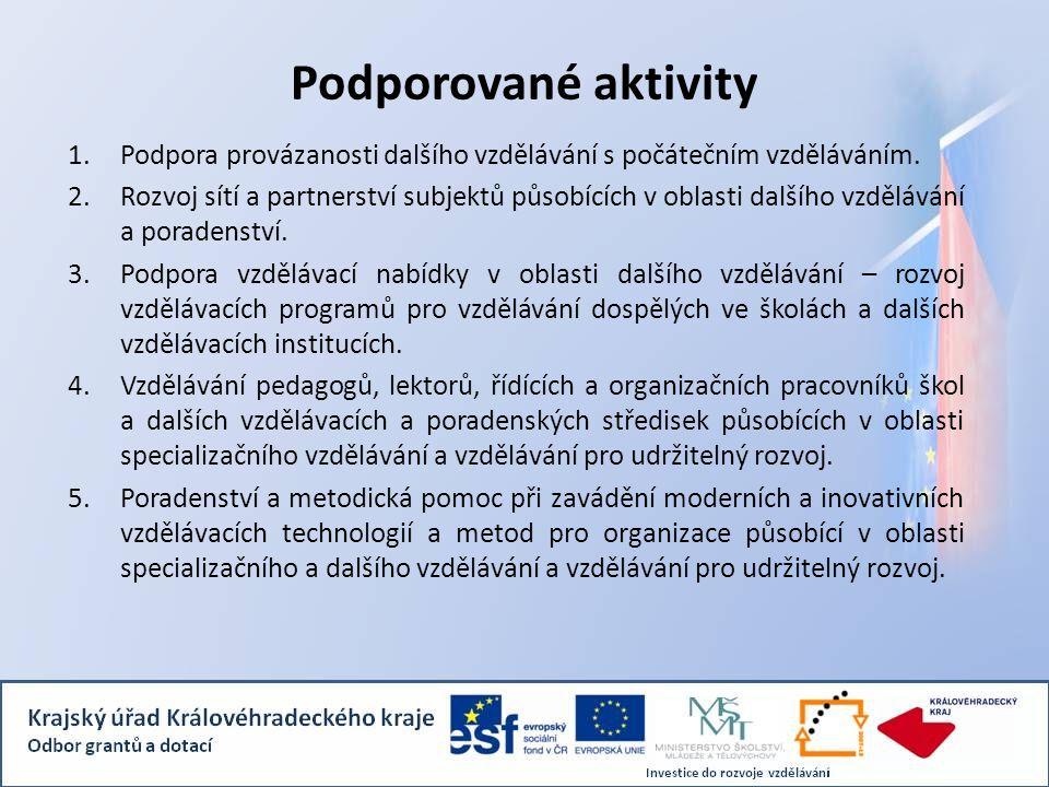 Podporované aktivity 1.Podpora provázanosti dalšího vzdělávání s počátečním vzděláváním. 2.Rozvoj sítí a partnerství subjektů působících v oblasti dal