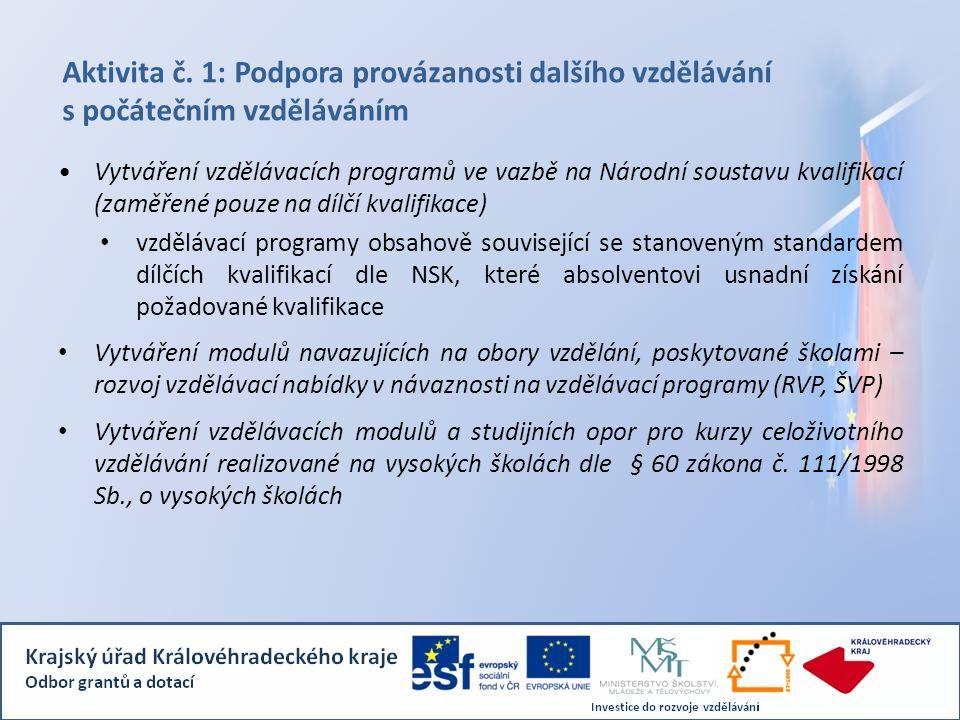 Aktivita č. 1: Podpora provázanosti dalšího vzdělávání s počátečním vzděláváním Vytváření vzdělávacích programů ve vazbě na Národní soustavu kvalifika