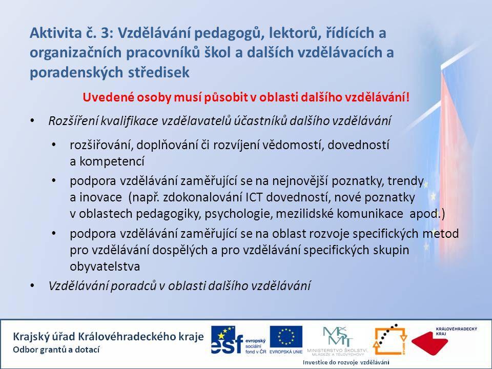 Aktivita č. 3: Vzdělávání pedagogů, lektorů, řídících a organizačních pracovníků škol a dalších vzdělávacích a poradenských středisek Uvedené osoby mu