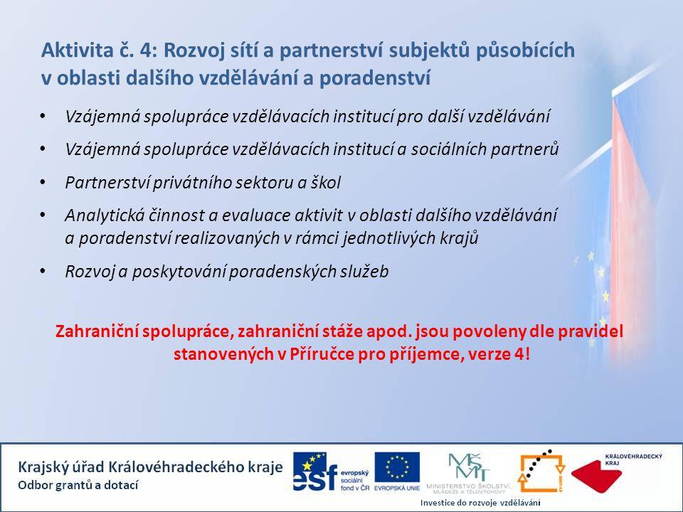 Aktivita č. 4: Rozvoj sítí a partnerství subjektů působících v oblasti dalšího vzdělávání a poradenství Vzájemná spolupráce vzdělávacích institucí pro
