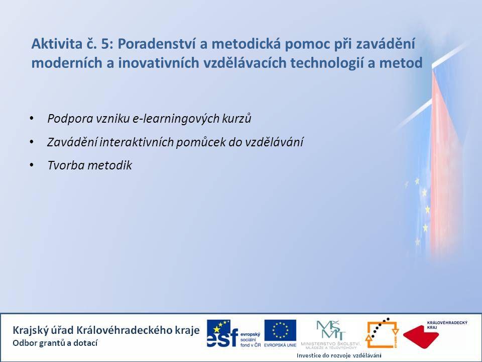 Aktivita č. 5: Poradenství a metodická pomoc při zavádění moderních a inovativních vzdělávacích technologií a metod Podpora vzniku e-learningových kur