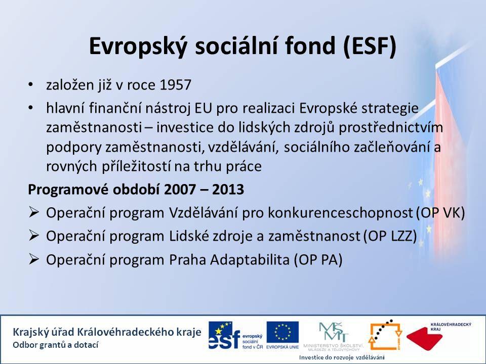 Evropský sociální fond (ESF) založen již v roce 1957 hlavní finanční nástroj EU pro realizaci Evropské strategie zaměstnanosti – investice do lidských