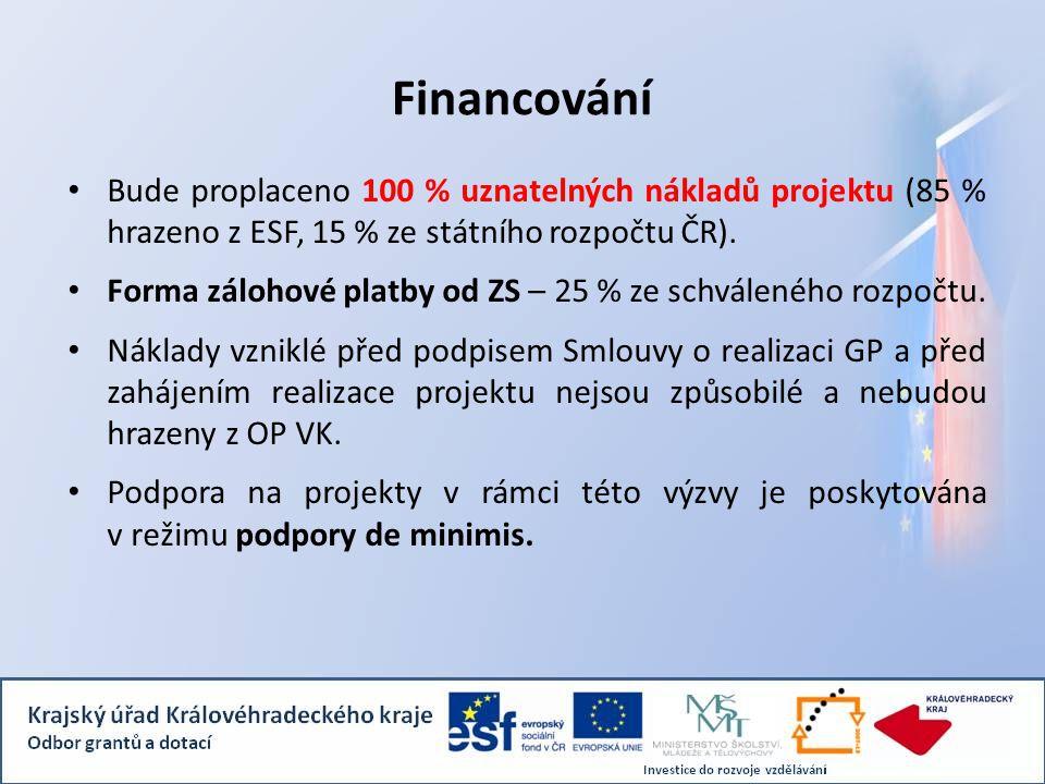 Financování Bude proplaceno 100 % uznatelných nákladů projektu (85 % hrazeno z ESF, 15 % ze státního rozpočtu ČR). Forma zálohové platby od ZS – 25 %
