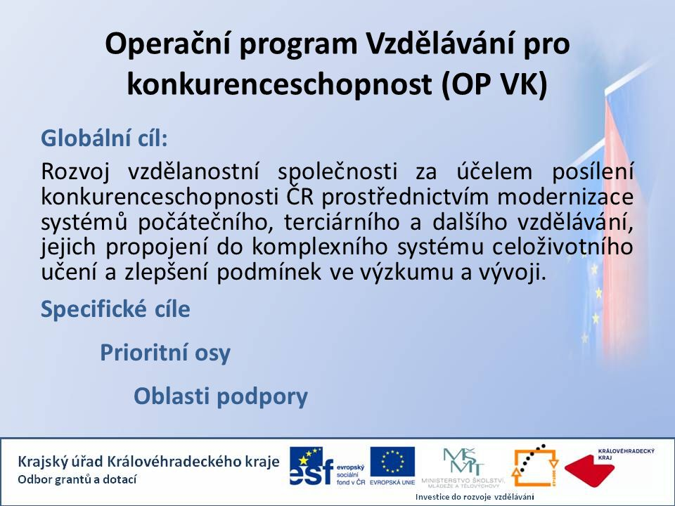 Operační program Vzdělávání pro konkurenceschopnost (OP VK) Globální cíl: Rozvoj vzdělanostní společnosti za účelem posílení konkurenceschopnosti ČR p