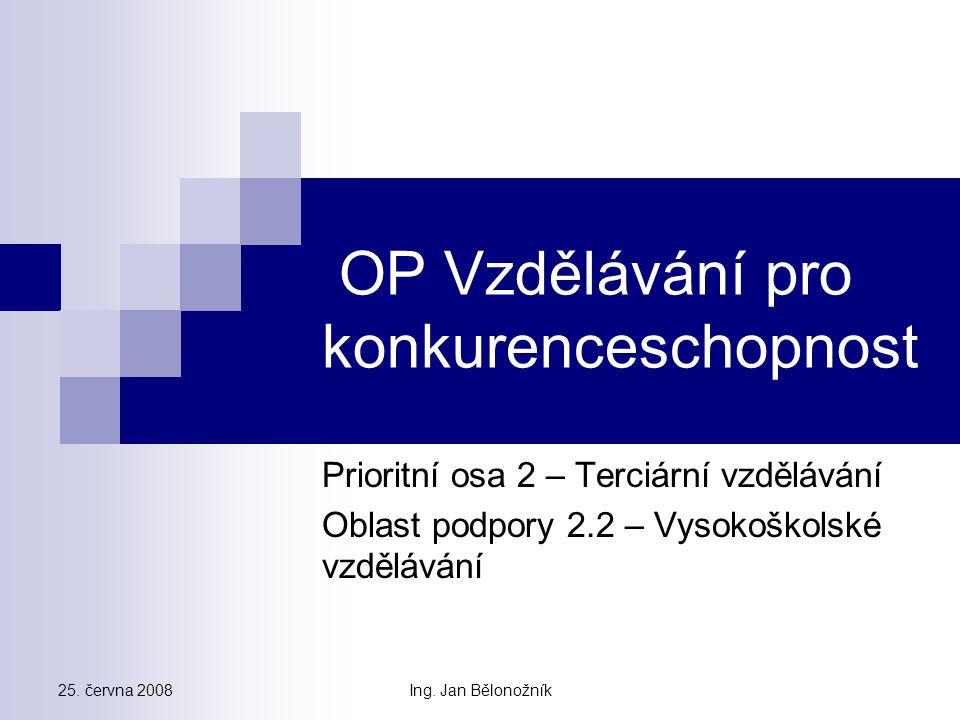 PO 3 – Další vzdělávání Specifický cíl: Posílení adaptability a flexibility lidských zdrojů jako základního faktoru konkurenceschopnosti ekonomiky a udržitelného rozvoje ČR prostřednictvím podpory dalšího vzdělávání jak na straně nabídky, tak poptávky.