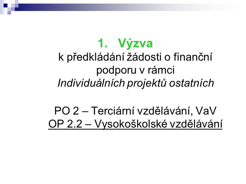 1.Výzva k předkládání žádosti o finanční podporu v rámci Individuálních projektů ostatních PO 2 – Terciární vzdělávání, VaV OP 2.2 – Vysokoškolské vzd