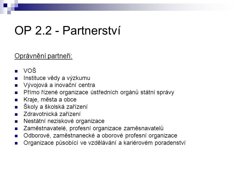 OP 2.2 - Partnerství Oprávnění partneři: VOŠ Instituce vědy a výzkumu Vývojová a inovační centra Přímo řízené organizace ústředních orgánů státní sprá