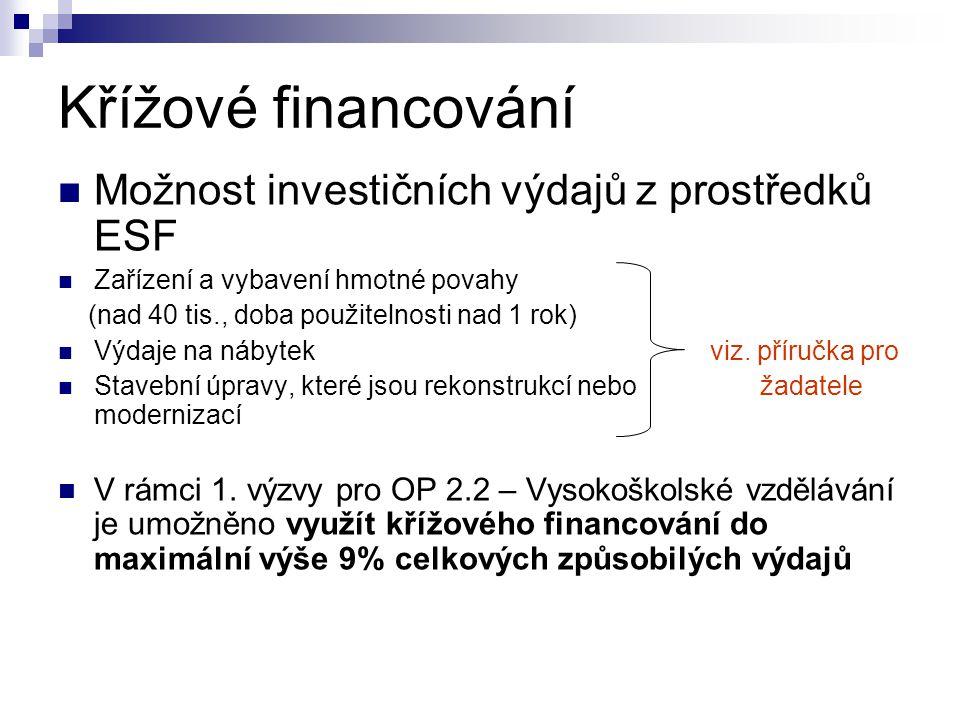Křížové financování Možnost investičních výdajů z prostředků ESF Zařízení a vybavení hmotné povahy (nad 40 tis., doba použitelnosti nad 1 rok) Výdaje