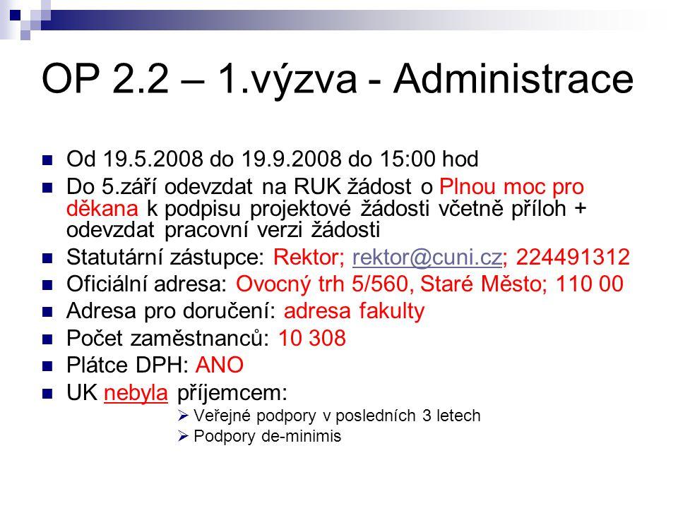 OP 2.2 – 1.výzva - Administrace Od 19.5.2008 do 19.9.2008 do 15:00 hod Do 5.září odevzdat na RUK žádost o Plnou moc pro děkana k podpisu projektové žá