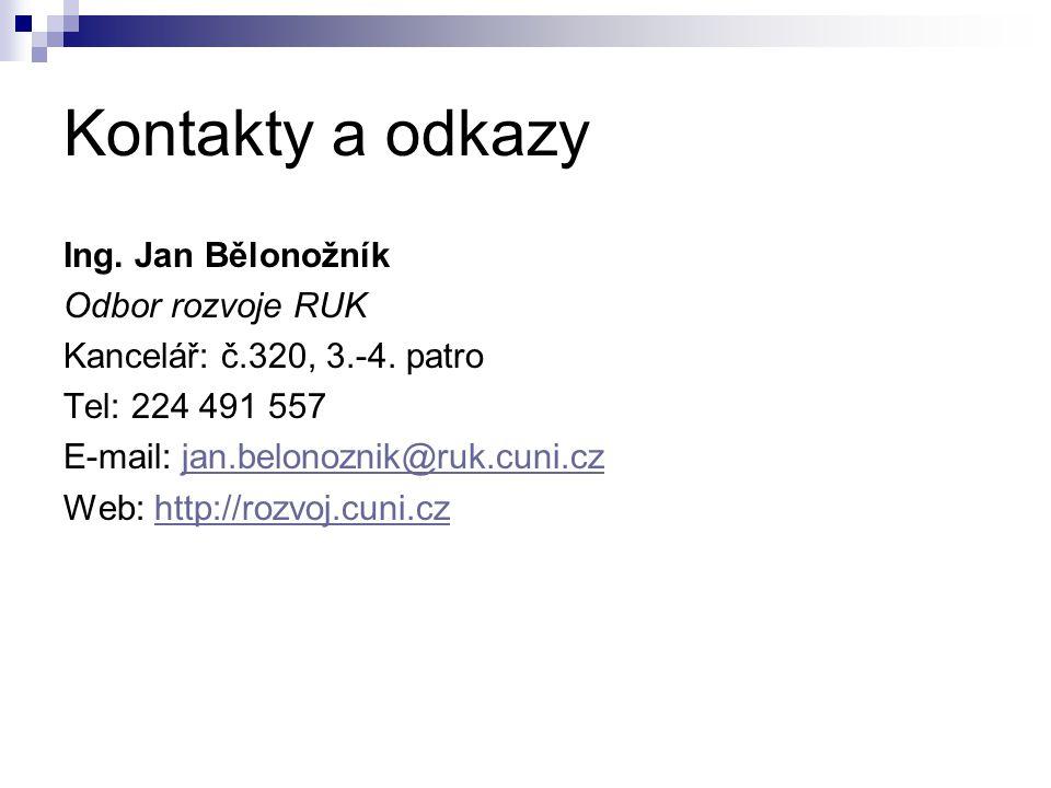Kontakty a odkazy Ing. Jan Bělonožník Odbor rozvoje RUK Kancelář: č.320, 3.-4. patro Tel: 224 491 557 E-mail: jan.belonoznik@ruk.cuni.czjan.belonoznik