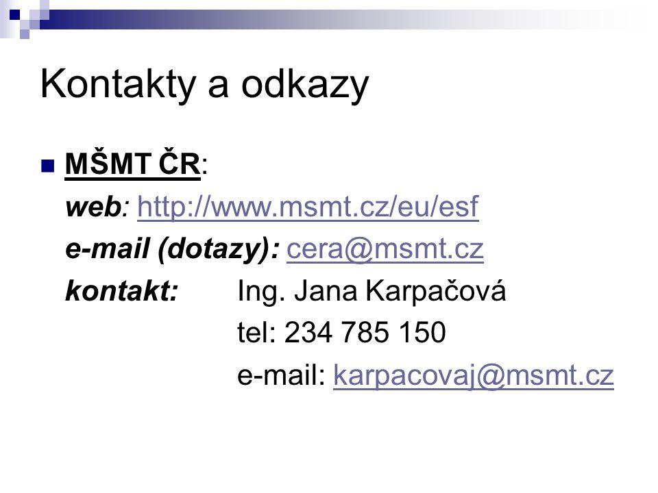 Kontakty a odkazy MŠMT ČR: web: http://www.msmt.cz/eu/esfhttp://www.msmt.cz/eu/esf e-mail (dotazy): cera@msmt.czcera@msmt.cz kontakt: Ing. Jana Karpač