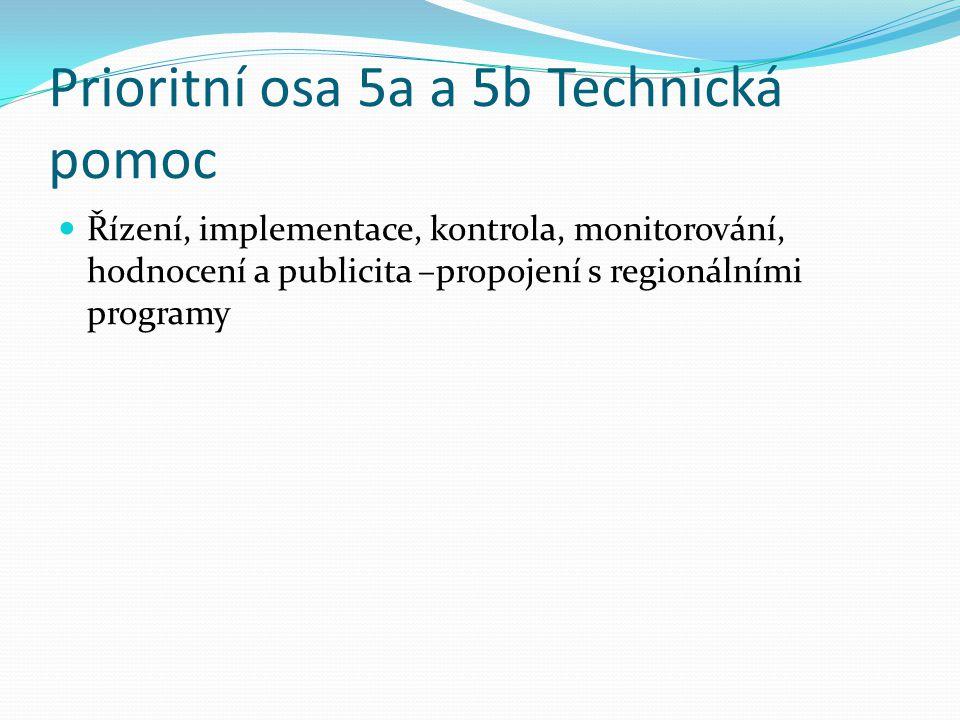 Prioritní osa 5a a 5b Technická pomoc Řízení, implementace, kontrola, monitorování, hodnocení a publicita –propojení s regionálními programy