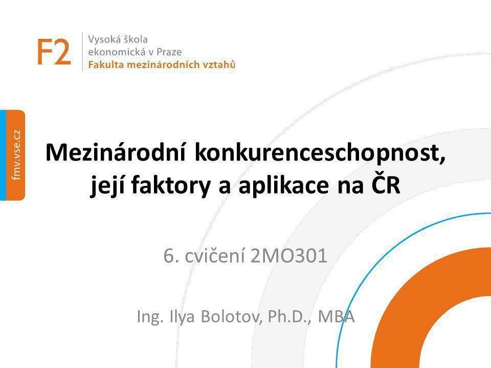 Mezinárodní konkurenceschopnost, její faktory a aplikace na ČR 6. cvičení 2MO301 Ing. Ilya Bolotov, Ph.D., MBA