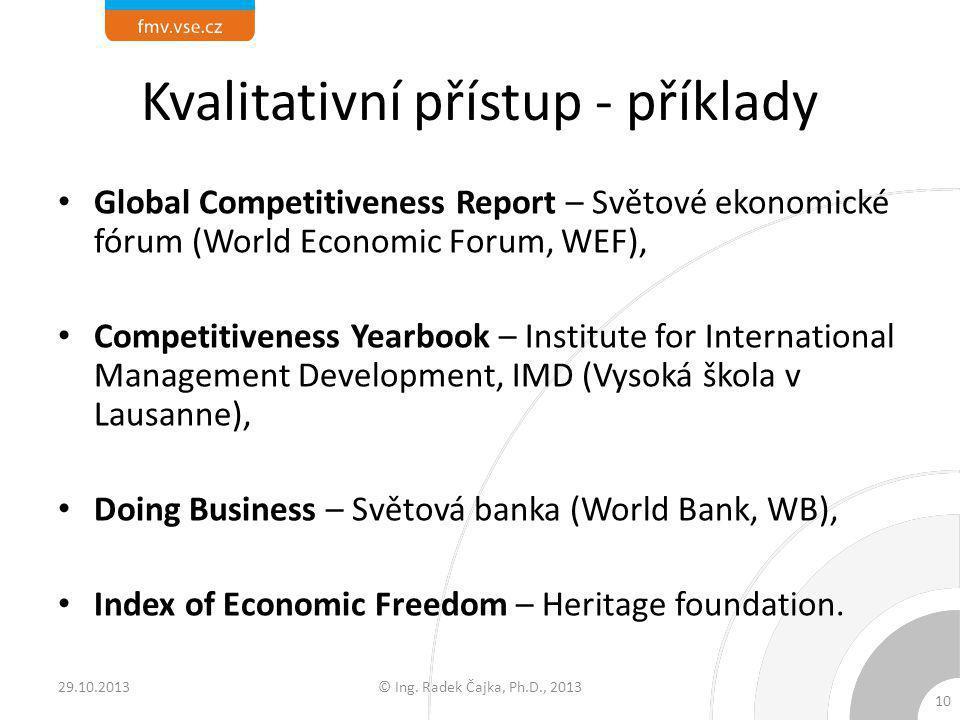 Kvalitativní přístup - příklady Global Competitiveness Report – Světové ekonomické fórum (World Economic Forum, WEF), Competitiveness Yearbook – Insti